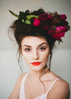 Floral headpiece + bright lip
