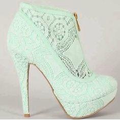 lace heels, mint lace, shoe