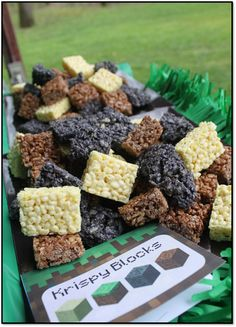 Minecraft Party birthday party minecraft, minecraft parties, party treats, minecraft idea, birthday parties, krispie treats, minecraft party, parti idea, rice crispy treats