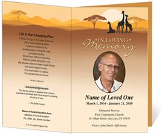 Outdoor Safari Funeral Order of Service Program Template Theme : Safari with Preprinted Title Letter Single Fold Template editable in Word, OpenOffice, Publisher, and Apple iWork Pages.