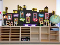 superhero bulletin board - do with artists