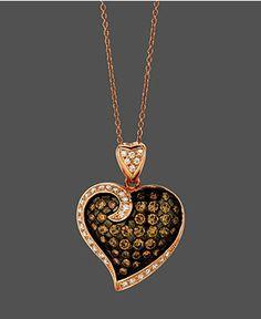 Le Vian Diamond Necklace, 14k Rose Gold Chocolate and White Diamond Heart Pendant (1-1/3 ct. t.w) - Diamonds - Jewelry  Watches - Macy's