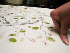 Fingerprint tree used as a guest book. Cute!