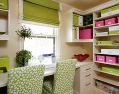 Lime + White + Pink...in loveeee. office spaces, office organization, craft space, colors, pink, homes, green office, home offices, craft rooms