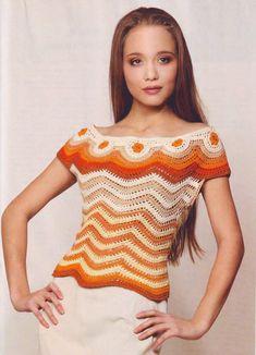 Wave Top free crochet graph pattern
