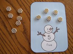 wagon wheels, winter, school, math centers, honeycomb cereal, snowflakes, number, cereals, cards