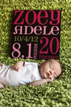 Baby Birth Announcement Subway Art baby sign. $30.00, via Etsy.