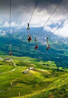 Ziplining in Grindelwald, Switzerland.