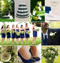 Green apples to decorate - cheap and easy!!! Cute bridesmaids dresses too with beautiful green flowers