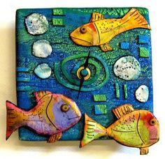 tile art, clay tiles, polym clay, polymer clay, clay fish, clay clock