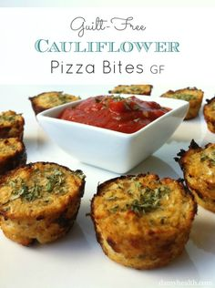 Guilt-Free Cauliflower Pizza Bites  #glutenfree #grainfree  #vegan #bestrecipesever #cleaneating #skinnyrecipes #lowcarb #cauliflowerrecipes #highfiber http://www.damyhealth.com/2013/02/the-best-healthy-sweet-and-savory-muffins/