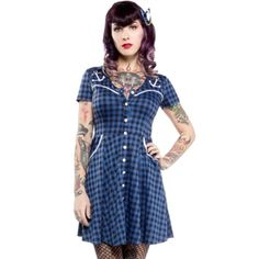 "Women's ""Anchor Western"" Dress by Sourpuss Clothing (Black/Blue) #InkedShop #western #dress #plaid #style #fashion"