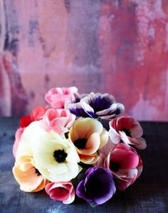 A bouquet of handmade paper flowers from thegreenvase.com