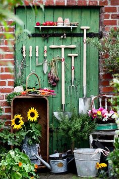 Vintage in the Garden:  We're always looking for new, practical ways of incorporating vintage or found items into our outdoor space.  Galvanized buckets, reclaimed windows and shutters, rusty tools, soda crates, bath tubs…anything goes.