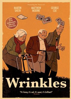 Former bank manager Emilio is dispatched to a retirement home by his family.  In the home, we are introduced to the daily pill regimens, electric gates and an eccentric cast of characters who rebel against institutional authority, while doing everything in their power to avoid being assigned to the dreaded top floor assisted living wing.  Drama, Animated, Not Rated, 89 min.  http://highlandpark.bibliocommons.com/search?utf8=%E2%9C%93&t=smart&search_category=keyword&q=wrinkles+sheen&commit=Search