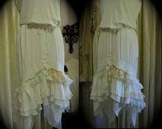 Shabby Ruffle Skirt white cotton layered by Dede of  TatteredDelicates.etsy