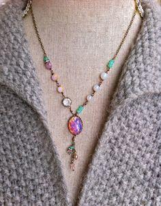 Intense. Mexican fire opal,pink opal,harlequin,birthstone,opal jewelry. Tiedupmemories
