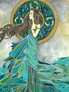 Aine by Caroline Evans (Tuatha de Danann) Irish Love Goddess, also known as 'Lady of the Lake'. In Irish mythological legend, Aine was the Goddess who created abundance for all that grows upon Earth. She is also the Goddess of Prosperity, Protector of Women, Animals and the Environment.