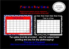"""FLASH FREEBIE four in a row game CONNECT 4 template from Miss Simplicity's Store on TeachersNotebook.com -  (3 pages)  - FLASH FREEBIE FOR A SHORT TIME ONLY!  A 2 dimensional take on 'Connect 4"""". No more buying expensive game boards that simply don't last!  Print out the game board and laminate."""