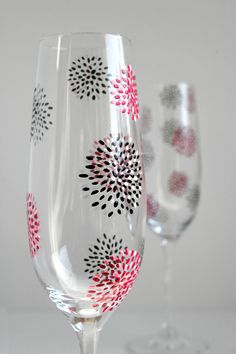 Geometric Flower Wedding Champagne FlutesSet by MaryElizabethArts, $58.00