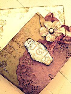Vintage Wedding Invitation Handmade Hand stamped Shabby Chic Country Chic. $7.00, via Etsy.