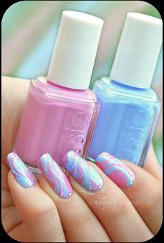 Just beautiful pink & blue waves nail art design