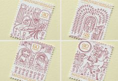 Stamp design for hungarian folk tales by Boglárka Nádi, via Behance
