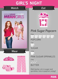 Regina George would want your next FiOS #MovieNight sleepover party to include Mean Girls -- and don't forget to make the Pink Sugar Popcorn recipe!