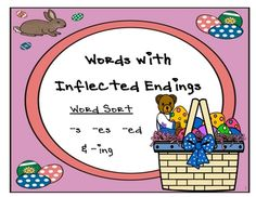 "Grammar Center Game ""Inflected Endings"" -s -es -ed -ing {Easter Theme} $3.00"