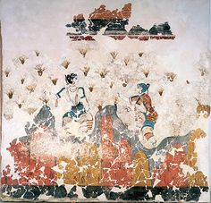 In this wall fresco from Akrotiri on Santorini, two women are shown in a field of crocuses. The older woman is gathering the stamens of flowers and placing them in a basket. The younger woman has a partially shaven head, and is gathering stamens with both hands. Saffron is derived from the stamens and has been used as a dye since antiquity. Saffron was used to dye robes and saffron robes appear frequently in the wall frescoes. In classical Greece, saffron was a symbol of wealth and power. de azafrán, creta minoica, art creta, fresco descubierto, pure saffron, primer fresco, saffron histori, saffron gather, archaeolog