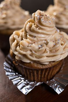 """Velvet Elvis"" Cupcakes with Moist Banana Cake and Rich, Peanut Butter-Cream Cheese Frosting, sprinkled with Sweet Buttered-Toffee Peanuts"