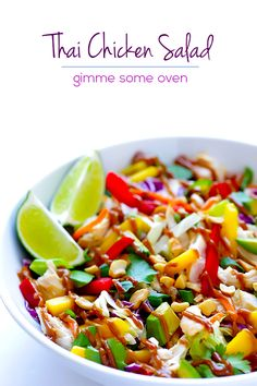 This Rainbow Thai Chicken Salad is full of amazing colors and flavors, it is topped with a heavenly peanut dressing, and it is also naturally gluten-free.