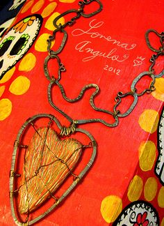 Paper clay heart with forged steel chain and frame. *  ©Lorena Angulo