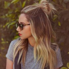 half bun hairstyles, hair colors, summer hair, half up bun, red lips, lock, messy buns, 90s style, ashley tisdale hairstyles
