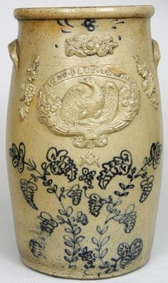 """Very rare eight gallon stoneware churn, Ohio origin, mid 19th century. Banner above eagle reads """"NE PLUS EXTRA,"""" meaning """"The Ultimate"""" or """"Without Flaw or Defect,"""" H 18 1/2"""""""