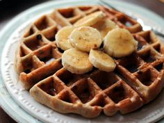 Healthy Banana Chocolate Chip Quinoa Flour Waffles (For vegan option omit 4 egg whites and use chia seeds or flax seed as egg!) Yippie!