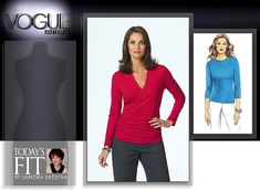 Vogue 8151 Pullover tops with set in sleeves. A: wrapped front, band, shirred sides and long sleeves. B: top with three-quarter length sleeves and optional tie front.