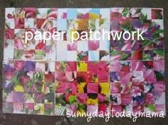 Paper patchwork summer wall display http://sunnydaytodaymama.blogspot.co.uk/2012/05/paper-patchwork-summer-wall-display.html