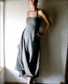 Beautiful grey linen dress. #style, #dress, #fashion