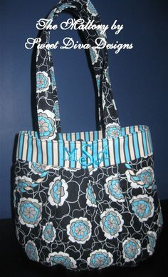 Custom Monogrammed Purse Black Blue Floral by sweetdivadesigns, $45.00