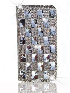 BLING Swarovski Crystal Plating Leather Designer Style Iphone Pouch, Case, Cover, Wallet w/Credit Card slots and Magnetic Closure for Iphone 4/4s or 5 in White by Jersey Bling (TM) (White Iphone 4/4s):Amazon:Cell Phones & Accessories