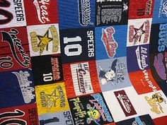 t-shirt quilt showing the quilting