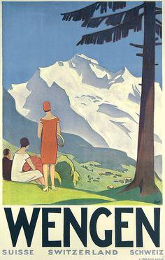 a vintage tourism-ad for Wengen/Switzerland
