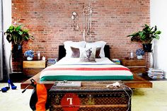 Home Decor Tips - Interior Design Trends - NYC Rooms lofts, dream catchers, vintage trunks, loft bedrooms, east village, bricks, platform beds, exposed brick, homes