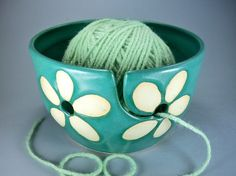 Knitting Yarn Bowl Turquoise and White Floral, Handmade Ceramic, As seen at Vogue Knitting LIVE in LA