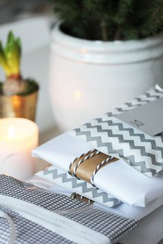 The chevron trend carries over into gift wrap