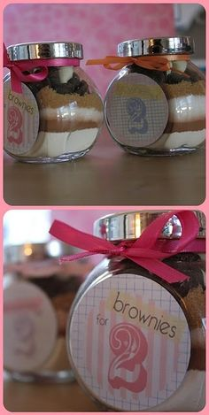 Brownies for two ~ bridal shower favor