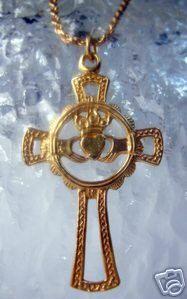 Gold Plated Claddagh Irish Cross Pendant Jewelry charm Sterling Silver 925 Jewelry