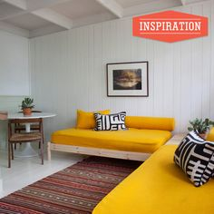interior design, montauk, bed frames, couch, colors, twin beds, mattress, yellow, daybeds