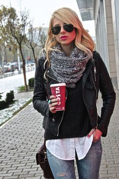 jean, winter style, infinity scarfs, white shirts, winter outfits, scarves, winter fashion, leather jackets, black